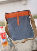 2012 autumn bag vintage genuine leather patchwork canvas bag one shoulder cross-body bag women's handbag