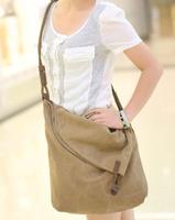 2013 canvas genuine leather shoulder strap casual bag messenger bag for men and women general bag