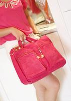 Mfe2012 autumn fashion scrub genuine leather double pocket vintage briefcase laptop messenger bag