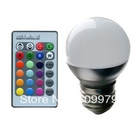 DHL Free shipping 3W  E27 E14 GU10 GU5.3 B22 MR16 RGB 16 Colors LED Light Bulb Lamp Spotlight 85-265V + IR Remote Control