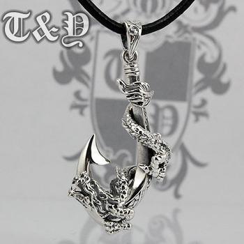 T & y silver pure silver 925 pendant dragon hook pendant thai silver male pendant dragon pendant