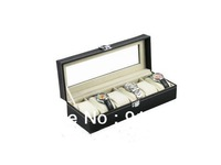 6 grid  upscale favorite portable pu leather watch boxes