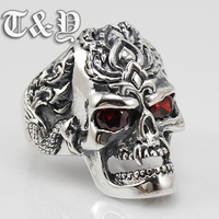T & y silver pure silver 925 ring skeleton skull thai silver male ring