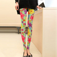 Free shipping 2013 New fashion Women printed cotton flowers graffiti leggings pantyhose thin candy color leggings wholesale