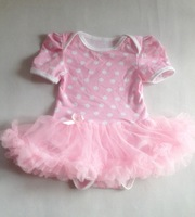 pink polak dots  baby cotton romper with tutu for baby