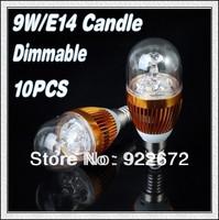 Free Shipping  10Pcs/lot E14/E27 9W White/Warm white High Power LED Bulb Lamp Candle Light Energy Saving
