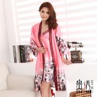 Women's faux silk robe sleepwear sexy silk spaghetti strap nightgown twinset