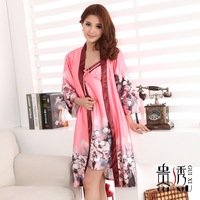 Women's faux silk robe sleepwear sexy silk spaghetti strap nightgown twinset