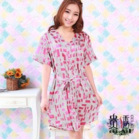 Summer women's front button silk nightgown sleepwear loose and comfortable plus size sleepwear lounge