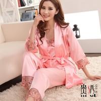 Women's faux silk sleepwear piece set solid color silk lace robe piece set lounge