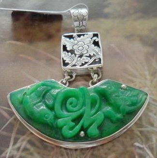 Thai silver 925 pure silver bangkok silver handmade silver iron dragon jade pendant