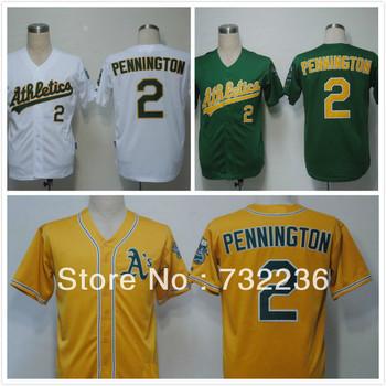Fashion men's baseball jersey Oakland Athletics 2 Cliff Pennington Green /white /yellow color Baseball Jerseys, size M-3XL