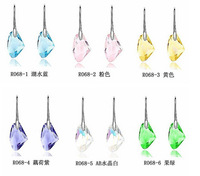 Free shipping Wholesale 6Pairs Colorful Austria Crystal Stone 925 Sterling Silver Hook Earrings Nice 6Colors To Choose