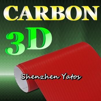 Red 3D Carbon Fiber Vinyl Film 3D Carbon Car Body Wrapping