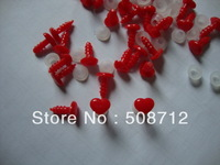 fress ship!!!200pcs/lot 9x7.5mm Red color Heart KT Eye &Nose &  mouth / safety eyes with PLASTIC lock-washers