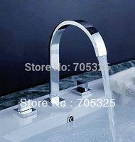 New3Pcs Bathtub Basin Sink Waterfall Spout Mixer Tap Chrome Faucet Set  Z078