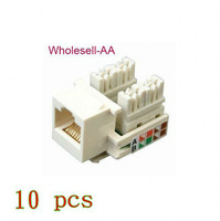 10pcs New White RJ45 Cat5e Cat-5e Punch 110 Keystone Jack  FREE Shipping