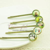 Handmade vintage small accessories natural gem owl hairpin time hair accessory hair pin side-knotted clip