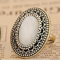 Min. order $9(can mix different goods) Fashion Large Size Oval Shape Gem Vintage Adjustable Ring JZ129