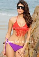 Free Shipping LC40605  Lovely Summer Color Block Tassel Fringe Detailed Triangle Halter Top Bikini Set Cheap Swimwear