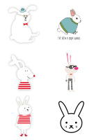 White rabbit waterproof tattoo sticker