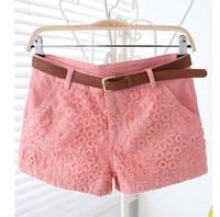 Ladies Solid Flat Mid Lace Embroidery Standard Casual Slim Mini Shorts Free Shipping A428-1662