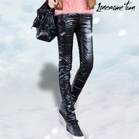 FREE SHIPPING Winter pants slim patchwork elastic thickening skinny pants casual long trousers leather trousers
