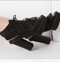 2013 spring and summer hot-selling open toe ultra high thick heel lacing sandals hot-selling