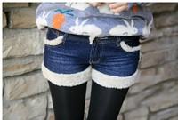 woman hot selling fashion winter fluff edge mini denim shorts  free shipping A420B-1089