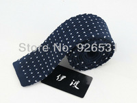 Tie/navy/The patterns of the point design/The latest style restoring ancient ways men's knitted tie free shipping
