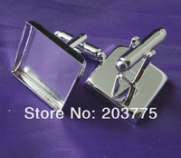 free shipping,100pcs/lot french 16mm square silver cufflinks blank,base,metal,wholesale jewelry findings
