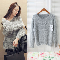 2013 autumn and winter classic loose sweater bottoming downy soft mohair pullover jacket fashion