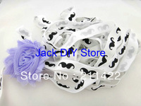 10 Yards FOE White with Black Mustache Fold Over  Elastic for Baby Headbands, 5/8 Elastic By The Yard Hair Accessorries