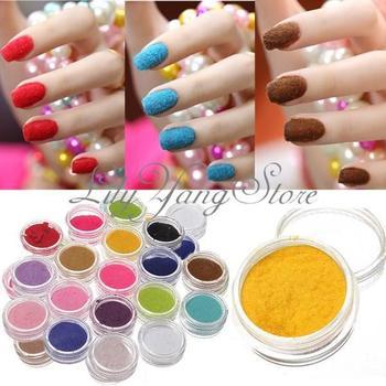 18 Colors Box Velvet Flocking Dust Powder Design Decoration Polish Nail Art Tips