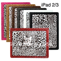 Fashion design Leopard Grain PU Protective Shell For iPad2 For iPad3  Free Shipping