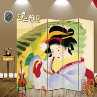 Geisha kimono lady map japanese style folding screen quality entranceway partition screen derlook off screen