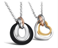 Wholesale\ Retail! Stainless Steel 3 Color 18K Gold Plated Heart CZ Charm Pendant Necklace For Lover, Lowest Price Best Quality