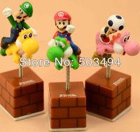 3 inch Set of 3 pcs Super Mario Brothers Yoshi with Mario Luigi Mushroom spring Shake Figures Retail