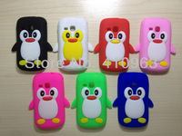 Free shipping 1pcs/lot Cute Cartoon Penguin Snap-on Silicone Cover Case For Samsung Galaxy mini2 S6500+ film