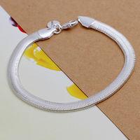 lose money promotion! Free Shipping Wholesale 925 silver bracelet, 925 silver fashion jewelry Flat Snake Bone Bracelet  H164