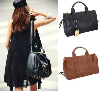 2014 Fashion Women's PU Leather Handbag Gold Rivet Tote Shoulder Messenger Hobo Bag Purse Black Brown Wholesale