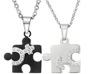 Wholesale\ Retail! New Silver Stainless Steel Black Plated Love Puzzle CZ Pendant Necklace For Lover, Lowest Price Best Quality
