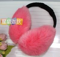 Ultralarge pure rabbit fur earmuffs ear cover sub- quality fur earmuffs chromophous adjustable
