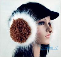 Circle yarn cashmere oversized fox fur wool earmuffs ear package multicolor