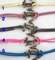 Free shipping +Wholesale 30pcs/lot anchor leather bracelet jewelry fashion bracelet