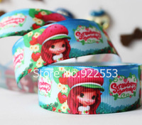 """free shipping 1""""(25mm)Wide Cute strawberry girl pattern printed with grosgrain ribbon gift packaging ribbon hair accessories"""
