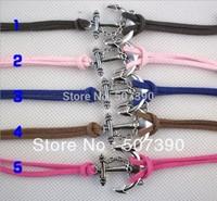 Free shipping anchor leather bracelet +Wholesale 30pcs/lot jewelry fashion bracelet