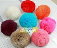 Ultralarge 8cm fur rabbit fur hair ball hair ball accessories key chain mobile phone chain full leather real fur
