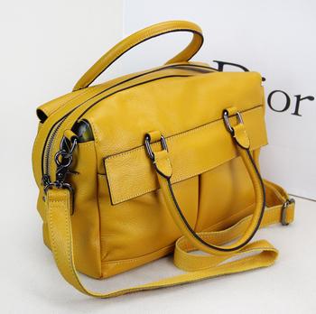 2013 double pocket genuine leather handbag preppy style color block cowhide messenger bag one shoulder cross-body women's