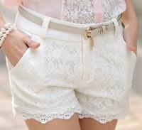 Women 2013 New Summer High Waist Zipper Fly Lace Crochet Black/White/Beige Matching Shorts Free Shipping A424-2-063